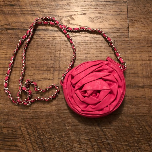 Handbags - Small round pink rose purse with silver chain